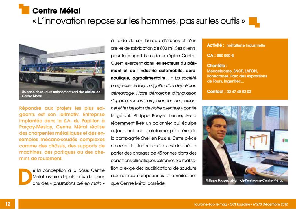 Article Centre Métal sur Touraine Eco n° 273 de Décembre 2012