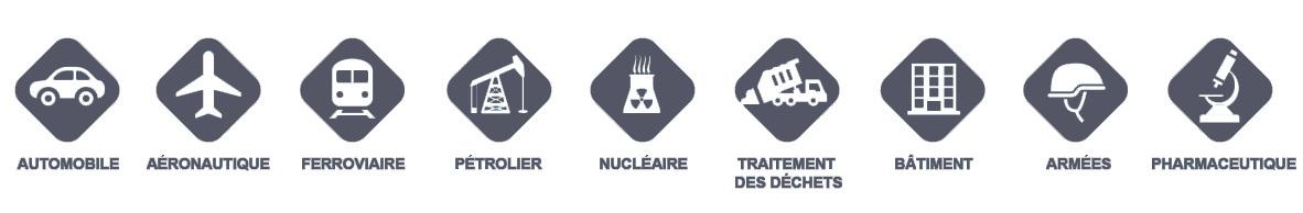 Secteurs d'activités de Centre Métal : Automobile, Aéronautique, Ferroviaire, Pétrolier, Nucléaire, Traitement des déchets, Bâtiment, Armées, Pharmaceutique, etc.
