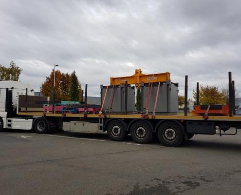 Transport charges d'essai 30T avec palonniers
